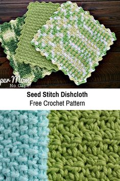 Crocheted Seed Stitch Dishcloth Free Pattern