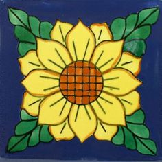 Each Especial Decorative Tile - Girasol VII is truly an individual work of art that will add lasting beauty and warmth to your home. Mexican Ceramics, Artist And Craftsman, Faux Stained Glass, Clay Tiles, Mexican Art, Mexican Tiles, Decorative Tile, Tile Art, Tile Design