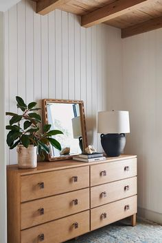Amber Lewis for Anthropologie Marana Table Lamp   Anthropologie Six Drawer Dresser, Oak Dresser, Dresser As Nightstand, Bed Drawers, Leather Drawer Pulls, Amber Interiors, Modern Interiors, Ceramic Table Lamps, Stitching Leather