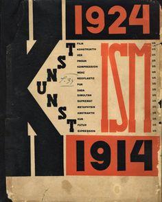 """El Lissitzky, couverture de """"Die Kunstismen"""" 1925 Dynamisme lié au différente graisses et au contraste de couleur, compo géométrique, souligne la structure de la mise en page."""