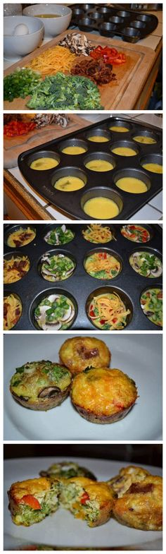 Delicious Breakfast Egg Muffins- minus the cheese Egg Recipes, Brunch Recipes, Low Carb Recipes, Great Recipes, Breakfast Recipes, Cooking Recipes, Healthy Recipes, Banting Recipes, Good Food