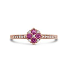 Dizeo ring made in sterling silver with 18K rose gold overlay, set with lab created diamonds and pink sapphires. Available at Crews Jewelry!