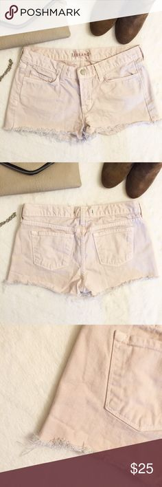 JUST IN! J BRAND Raw Hem Cut Off Denim Shorts J Brand cut off shorts with frayed hem. Color is a super light pink almost edging into cream. Fun denim piece with feminine flare. In great preloved condition, some wear on the inside (as you can see from the tag photo) APPROX 7.25 inch rise J Brand Shorts Jean Shorts
