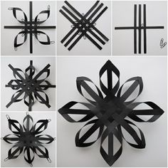 49 ideas diy kids crafts winter paper stars for 2019 Christmas Origami, Christmas Snowflakes, Christmas Crafts, 3d Paper Snowflakes, Black Christmas, Diy Christmas Star, Paper Christmas Decorations, Snowflake Ornaments, Handmade Christmas