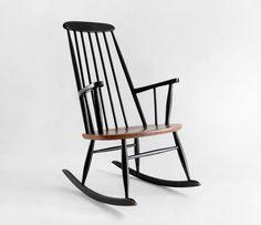 Vintage Ilmari Tapiovaara Teak Rocking Chair on Hindsvik.