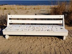 Bench with shells & sand - Sent in by Rob Mandelberg - Rehoboth beach