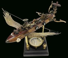 """""""Chrysalis"""" Flying Machine assemblage/sculpture of found vintage and antique objects by Assemblique ® 2013"""