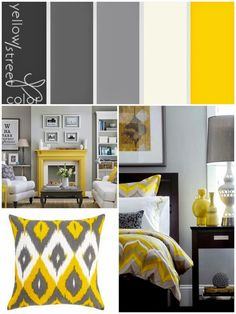 chrisdelish: Bedroom Inspiration and Grey And Yellow Living Room, Yellow Gray Bedroom, Bedroom Colors, Grey Yellow, Living Room Decor, Bedroom Decor, Teal Living Rooms, Living Room Color Schemes, Beautiful Bedrooms