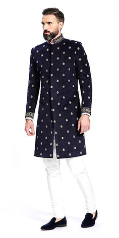 Shop for the Esfahan Navy Blue Sherwani Men Ethnic Wear India, Mens Indian Wear, Indian Groom Wear, Sherwani For Men Wedding, Wedding Dresses Men Indian, Wedding Suits, Punjabi Wedding, Indian Weddings, Wedding Couples
