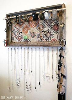 Long Hanging Weathered Wood Frame Jewelry Organizer (Peach Multi-Color Geometric Boho Navajo Pattern Wood Plans Tips Diy Hanger, Diy Jewelry Hanger, Frame Jewelry Organizer, Diy Jewelry Unique, Diy Jewelry To Sell, Jewelry Holder, Diy Necklace Holder, Diy Earring Holder, Jewelry Stand