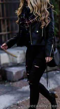 All black winter outfit styled with black leather jacket, black distressed jeans. - All black winter outfit styled with black leather jacket, black distressed jeans… – - Winter Outfits For Teen Girls, Cute Fall Outfits, Winter Outfits Women, Trendy Outfits, Fashionable Outfits, Summer Outfits, Mode Outfits, Fashion Outfits, Fashion Skirts