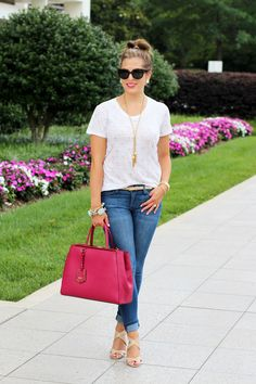 love the overall casual look :) | Top: J.Crew (ON SALE!), Skinnies: Current/Elliot (also love this destroyed version), Bag: Fendi 2Jours, Heels: Jimmy Choo (less expensive here), Sunnies: Prada, Necklace: J.Crew (old, similar here and here), Earrings: Kendra Scott, Bracelets: H.M. Willow, Watch: Michele, Lips: Dior Addict Fluid Stick #575