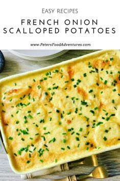 A creamy, cheese scalloped potato casserole that only uses 4 ingredients. So easy to make, yet packed full of flavor - French Onion Scalloped Potatoes Bake Veg Dishes, Potato Dishes, Savoury Dishes, Vegetable Dishes, Side Dishes, Potato Recipes, Vegetable Bake, Vegetable Casserole, Savoury Recipes