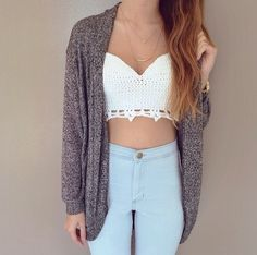 Grey Cardigan, Ivory Lace Crop Top with Natural at the Waist jeans. Perfect back to school look. Not showing too much not showing too little.