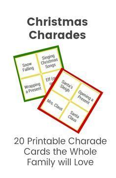Christmas charades, Christmas game, for kids, printable, idea, fun Christmas charades, party, Christmas activities for families #christmastime #christmasfun