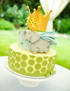Elephant Baby Shower Theme (blue, green, yellow, grey).