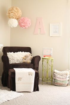 Vintage Chic Baby Nursery - #projectnursery - love the poof balls hanging. may have to do that