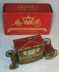 "Antique Jacob's""Coronation Coach""RARE Figural Biscuit Tin C1936 