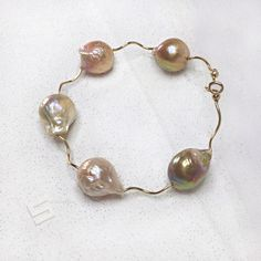 Kasumi Pearls & Gold Filled Bangle Bracelet, 15-20MM Natural Metallic Mixed-color Baroque Pearl In 14K Gold Filled Accent Statement Bracelet by SakuraPearlsAndGems on Etsy