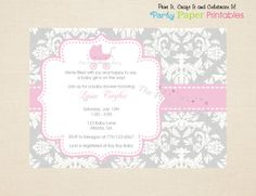 Baby Girl shower Invitation, Grey and White Damask Baby Shower Invitation with Pink Carriage (Pink & Grey) by Party Paper Printables on Etsy, $10.00