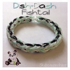 Monster Tail - DISH DASH FISHTAIL bracelet. Designed by 5kidscausechaos. Tutorial and looming by AmandaandMonica Rloomy. Click photo for YouTube tutorial. 09/22/14.