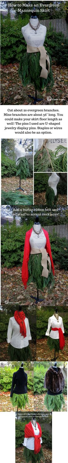 Learn how to create a mannequin with an evergreen skirt for the winter holidays! mannequin evergreenskirt displayforretail #CLcustomgifts
