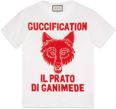 """""""Il Prato di Ganimede Guccification"""" print T-shirt Gucci Gang, White Cotton T Shirts, Cotton Tee, Casual Outfits For Teens, Urban Fashion Trends, Teen Fashion, Gucci Fashion, Style Fashion, Fashion 2018"""