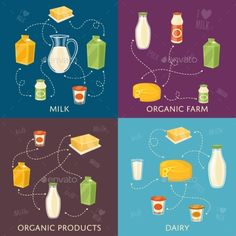 Dairy Banners Set With Milk Products