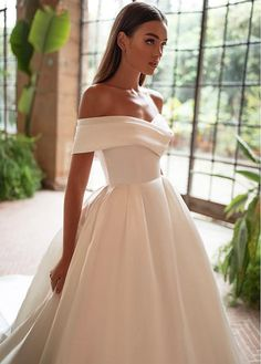 Magbridal Romantic Satin Off-the-shoulder Neckline Ball Gown Wedding Dresses