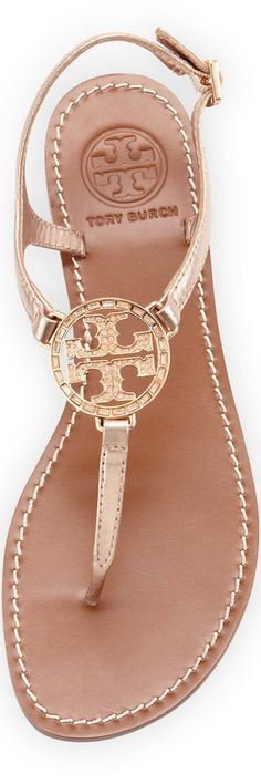 Tory Burch Violet Logo Thong Sandal, Rose Gold