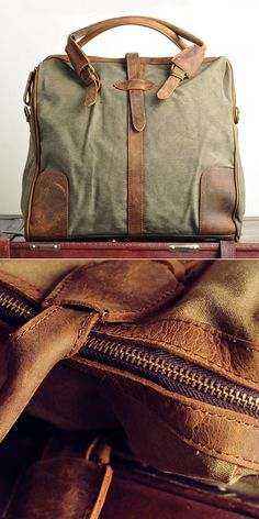 Handmade Leather Canvas Bags bo' types of leather to look at. photography styling ideas in the bottom image