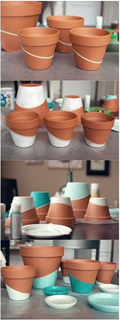 DIY Color Dipped Pots Source: http://witandwhistle.com/blog/page/2/