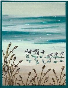 shorebirds and beach grass (Wetlands) stamped Serene Scenery designer paper . highlighted with gel pens . Stampin' Up! Wetlands Stampin Up, Serene Silhouettes, Nautical Cards, Beach Cards, Stamping Up Cards, Bird Cards, Birthday Cards For Men, Marianne Design, Beach Scenes