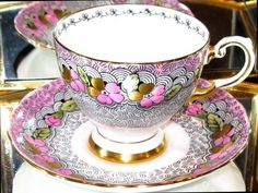 Tuscan Pink & Gold Painted Tea Cup/Saucer