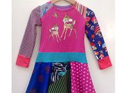 Upcycled girls long sleeve dress deer size 12M/2T (34/36 inch height)