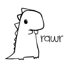 Cute Baby Dinosaur rawr Vinyl Decal by BadWolfDecals on Etsy Easy Doodles Drawings, Cute Easy Drawings, Small Drawings, Cute Little Drawings, Simple Doodles, Art Drawings Sketches Simple, Cute Doodles, Cute Tattoos, Small Tattoos