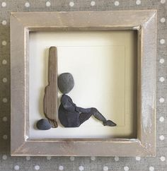 Pebble Art Gift for Dad Stone picture Driftwood Slate