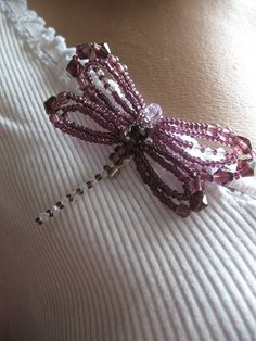 Beaded Dragonfly Brooch  in Purple Summer Gift Jewelry Art Souvenir.