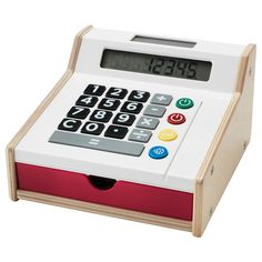 IKEA - DUKTIG, Toy cash register,  ,  , , Your child will have fun playing shop with their friends, while they also learn about counting and money.Encourages role play which helps children to develop social skills by imitating grown-ups and inventing their own roles.Fully functional calculator with clear display makes it easy for your child to sum up the costs of a purchase.No need to change batteries as the calculator runs on solar cells.Comes with play money and two credit cards that your…