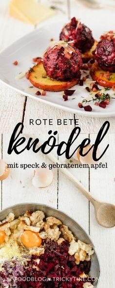 rote bete knödel, serviert mit speck, pecorino und gebratenem apfel ♥ #beetroot #food #blogger #trickytine #soulfood