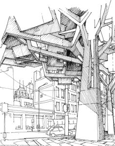 the architecture draftsman stefan davidovici GRAFISMOS Architecture Drawings, Gothic Architecture, Architecture Details, Beautiful Architecture, Illustration Manga, Illustrations, Drawing Programs, Interior Sketch, Hand Sketch