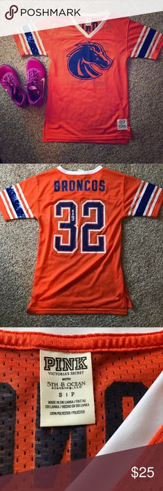 BSU Broncos jersey PINK brand!! Orange and blue BSU jersey with glitter detail!! PINK Victoria's Secret Tops Tees - Short Sleeve