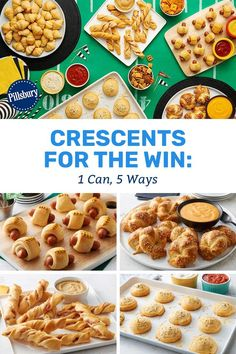 Kick off your game day party the right way and have your whole crowd cheering for more with these five party-ready twists that come from a can of crescent rolls. Because, really, the food is the best part of game day. Crescent Roll Appetizers, Crescent Roll Recipes, Crescent Rolls, Great Appetizers, Appetizer Recipes, Dessert Recipes, Toaster Oven Recipes, Pillsbury Recipes, Bread And Pastries