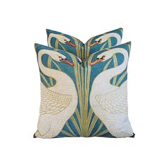 Pre-Owned Swans    Linen Pillows Pair ($299) ❤ liked on Polyvore featuring home, home decor, throw pillows, set of 2 throw pillows, linen throw pillows, contemporary home decor and contemporary throw pillows