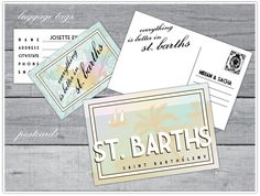 In lieu of a sign in book, guests wrote the couple a note on custom postcards for a St. Barths Wedding.  Designed by Alchemy Fine Events www.alchemyfineevents.com