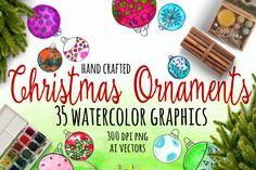 Watercolor Christmas Ornaments By Seaside Digital