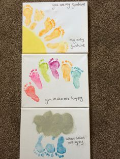 Footprint baby sunshine, rainbow, rain and cloud. You are my sunshine, on canvas (arts and crafts projects children)