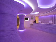 Ambassador Hotel lobby by Oscar Vidal in Quist Benidorm, Spain. The color of the lighting can be changed to match the mood.