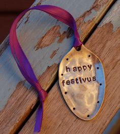 Happy Festivus! - HA! Happy Festivus, Spoon Ornaments, Silverware Art, Christmas Fun, Christmas Ornaments, Jewelry Art, Unique Jewelry, Purple Ribbon, Metal Art
