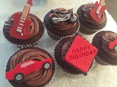 Guitar, motorbike, mustang cupcakes